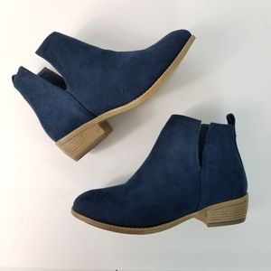 JG Booties Faux Suede Navy & Tan Ankle Boot